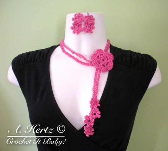 Crochet Daisy Chain Necklace and Earring Set Pattern