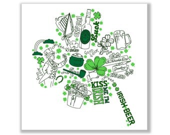 Shamrock St. Patrick's Day, hand drawn card, clover,beer, Irish, green,kisses,Digital Printable card templates, Personal and Commercial Use.