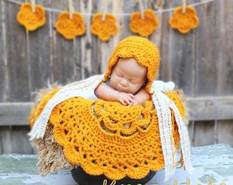 Ready to ship .Crochet Bonnet,Doily blanket and mini doily banner.