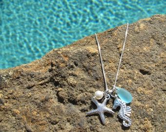 STARFISH EARRINGS and NECKLACE - Beach Wedding, Starfish Necklaces, Bridesmaid Jewelry Set, Bridesmaid Jewelry, Seahorse, Beach Jewelry