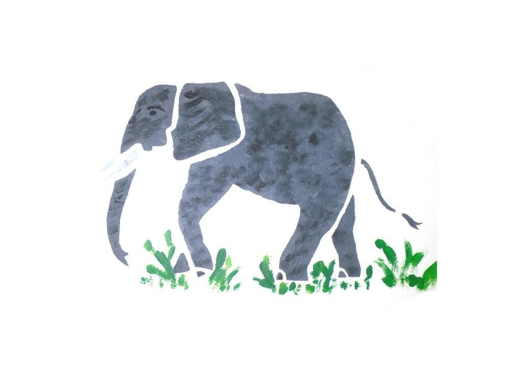 Elephant wall stencil ...