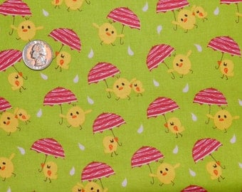Easter Chicks with Pink Umbrellas - Fabric By The Half Yard 18 inches x 44 inches