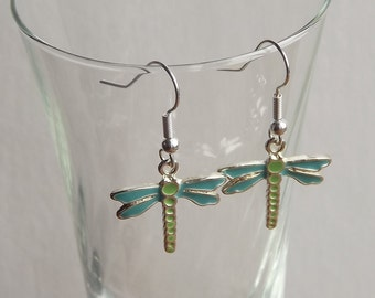 Dragon Fly Blue And Green Dangle Earrings