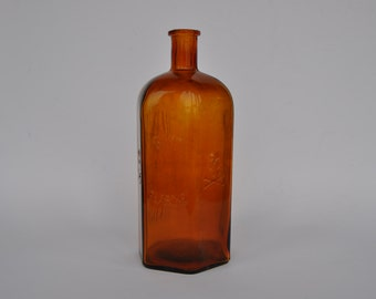 SALE Early 1900s large glass poison bottle with skull and crossbones. RARE. Vintage German. Giftflasche.