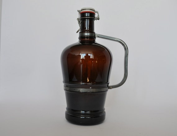 Xxl Vintage German Beer Growler Metal Handle Ceramic Lid