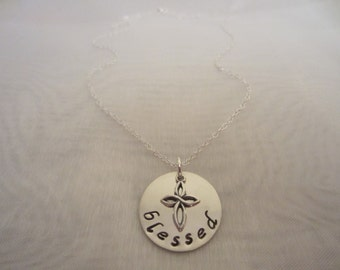 Blessed Cross Necklace-Sterling Silver Christian Jewelry