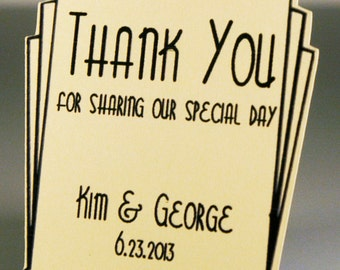 Wedding Favor Tags (120) - Personalized Thank You Tags, Your Colors, Your Letters.Perfect for Wedding or Party Favors