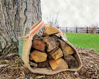 Firewood Carrier Log Carrier - Wood Carrier - Repurposed Coffee Bag Firewood Tote, Rustic Burlap Carrying Logs, Log Cabin in Winter