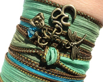 Bohemian, Silk, Wrap Bracelet, Namaste, Om, Yoga Jewelry, Dragonfly, Buddha, Green, Unique Gift For Her, Under 50 Item Y7