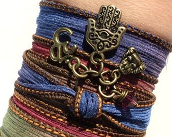 Evil Eye Hamsa Silk Wrap Bracelet Namaste Protection Bohemian Buddha Yoga Jewelry Unique Gift For Her Under 50 Item Y8