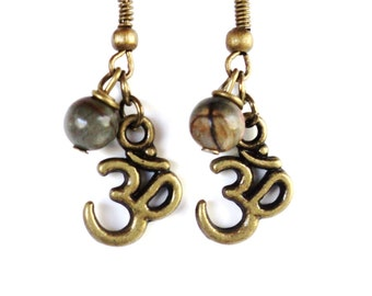 Om Earrings Yoga Jewelry Namaste Jasper Gemstone Bohemian Healing Harmony Meditation Unique Gift for Her Under 20 Item Y74