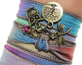 Owl Silk Wrap Bracelet, Yoga Jewelry, Tree of Life, Dragonfly, Mother Earth, Bohemian, Earthy, Unique, Gift For Her, Under 50 Item V18