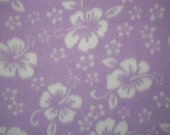 Hibiscus Flowers on Lavender Anti-Pill Fleece Fabric and sold by the yard