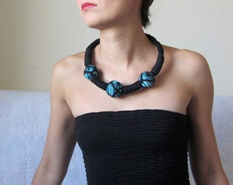 Chunky fabric necklace, blue black statement jewellery, upcycled recycled repurposed festival fashion, unique, OOAK, handmade gift for her.