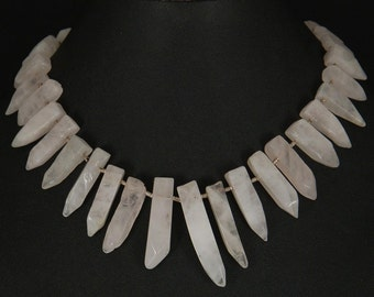 Rose quartz crystal point necklace with hills tribe silver tube beads by Sylvan Creations