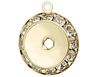 Set of 4 Gold Plated Crystal Bezeled Rivoli Holder for Swarovski 1122 12mm Rivolis (CRH-12MM-G - sku 5687)