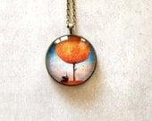 Orange blue tree necklace pendant Summer jewelry Long large pendant art pendant glass dome pendant necklace - ShoShanaArt