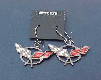 C5 Chevrolet Corvette Silver Hoop Earrings Handcrafted in USA Unique Classic Muscle Car Accessory