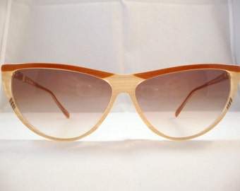 Renato Balestra vintage Italian sunglasses 1980s -  pure cateye style, beige/brown frames for Women