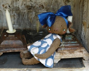 NEW PDF Epattern for 11 inch Artist Mohair Teddy Piglet Forget-Me-Not  - the patterns for the dress is included - by Sasha Pokrass