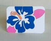 Hibiscus Flower Mini Note Card, Set of 10 Navy Blue Hawaiian Flower Note Cards, Gumamela Flower
