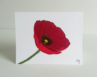 Poppy Floral  Note Card with lined envelope, flower sympathy card, red flower thank you note, floral stationery get well soon card