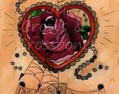 "Roses and Pearls Heart - 4x6"" Tattoo Flash Art Print"