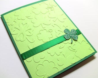Handmade St. Patrick's Day Card, St. Patty's Day Card, Happy St. Patrick's Day, Clover, Green and White, Embossed