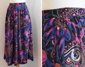 70s Maxi Long Skirt / Full printed / Blue cachemir print / Vintage Clothing / Size S