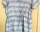 Cute blue cotton shirtdress with grey-blue japanese print drawstring waist size L