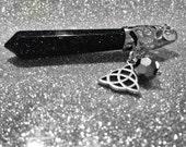 Sandstone Swarovski Crystal Triquetra Pendulum