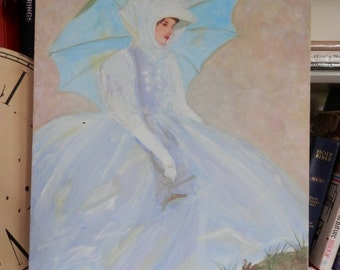 Vintage Oil on Canvas Original Art Woman with Blue Umbrella and Dress Oil Painting Signed 3/90 PaLumbo