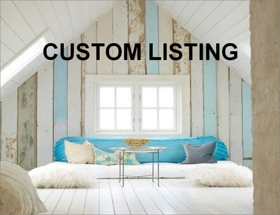 """CUSTOM LISTING for Maria: One 46"""" Long White Paddle with Navy Stripes"""