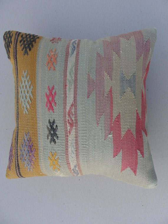 "Modern Home Decor , Embroidered Handwoven Vintage Turkish Kilim Pillow cover 16"" x 16"""