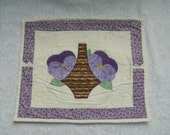 Basket PansiesQuilted  Wall Hanging