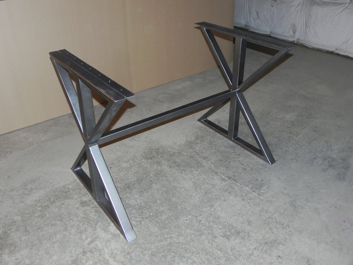 Modern steel farmhouse DIY table base by FunkyLivingCA on Etsy