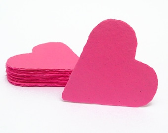 Hot pink hearts, handmade paper, recycled, deckle edge, set of 10