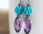 Amethyst and Turquoise Earrings, Turquoise Earrings, Amethyst Earrings, Oxidized Earrings, Gemstone Earrings