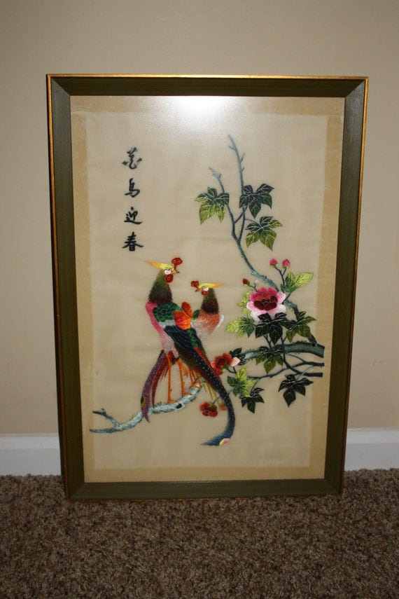 Vintage framed chinese silk thread embroidery hand made for Home interiors and gifts framed art