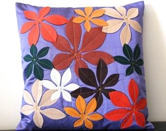 Flower Pillow, Purple Pillow Cover, Lilac Pillow, Accent Pillow, Colorful Pillow, Decorative, 16x16 pillows, Appliqued- 'Colorful Burst'