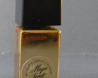Vintage 1950s DECO Miniature Black & Gold Magic Secret Helene Curtis Glass Perfume BOTTLE with BAKELITE Cap