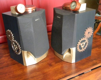 On Sale -Steampunk Speakers - ONE OF A KIND  Steampunk Speakers-Pair of Steampunk Speakers- Upcycled Speakers- Speakers -Unique Steampunk-