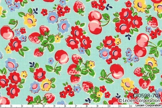 Strawberry Floral Color 70  from the Old New 30's Collection by Lecien - Half Yard