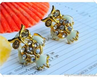 Buy 3 Free 1 - Owl Earring with diamond, cheap earring , stud earring ,fashion earring