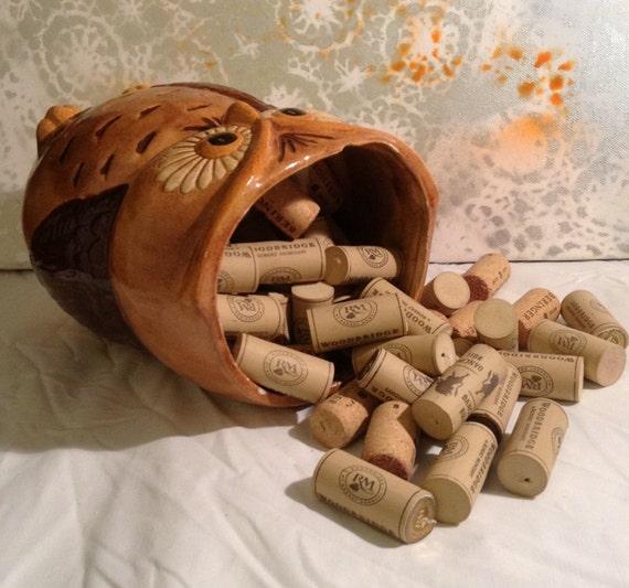 Vintage Owl Cookie Jar filled with 100 Wine Corks