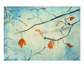 Orange leaves watercolor painting, original painting, home decor, autumn fashion