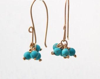 Turquoise Earrings, gold turquoise earrings, weddings, december birthstone, turquoise gemstone earrings, simple earrings, everyday earrings