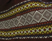 Woven Ethnic Tribal Geometric Trimmed Heavy Cotton Fabric Yardage Textile