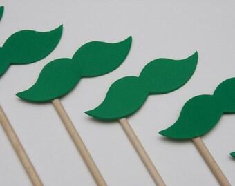 STACHE STICKS Emerald Green (Set of 7 hand cut stache sticks)
