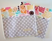 Baby Girl Burp Cloths - Forest Life Watermelon and Gray Polka Dot - Set of 2